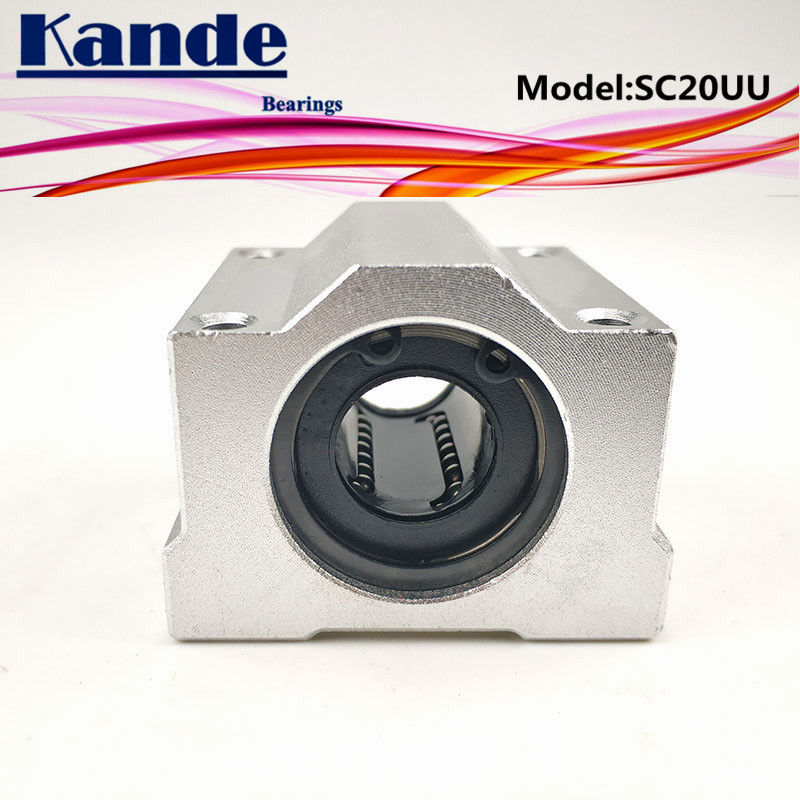 Kande Bearings  2pcs SC20UU SC20 UU Linear motion Ball Bearing Slide block bushing for 20mm SC20 SC