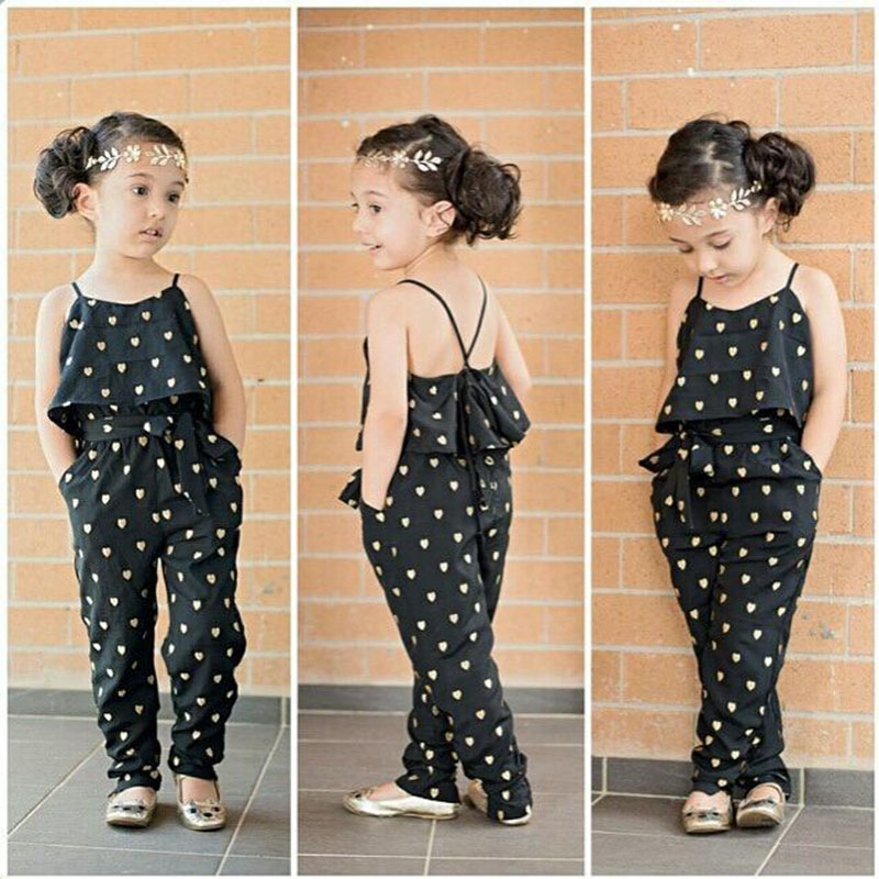 2016 summer style girls heart jumpsuit hot selling kids clothes baby girls  fashion sling black siamese pants baby girls clothes,in Clothing Sets from  Mother