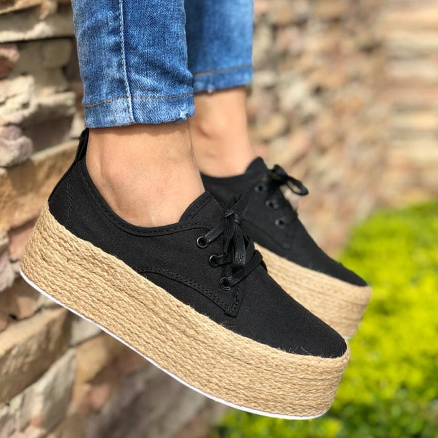 Laamei Fashion Ladies Espadrille Shoes Canvas Loafers Thick Bottom Flats Shoes Girls Lace Up Round Toe Casual Flats Footwear in Women 39 s Flats from Shoes