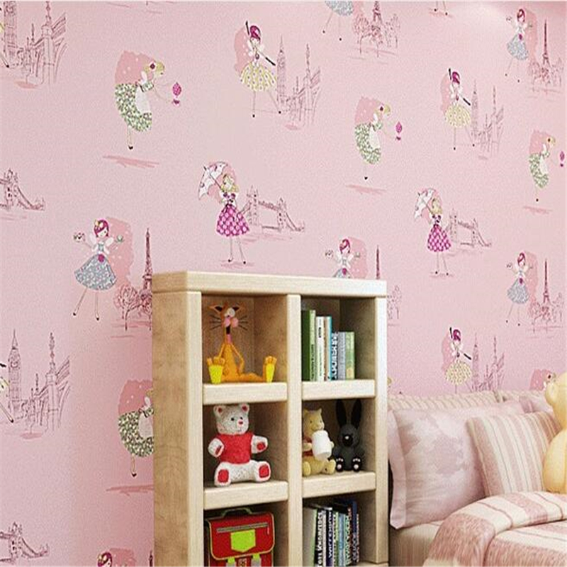 Beibehang ballet dancing girl Princess Room 3d wallpaper warm bedroom pink non woven children's room wallpaper for walls 3 d beibehang non woven pink love printed wallpaper roll striped design wall paper for kid room girls minimalist home decoration
