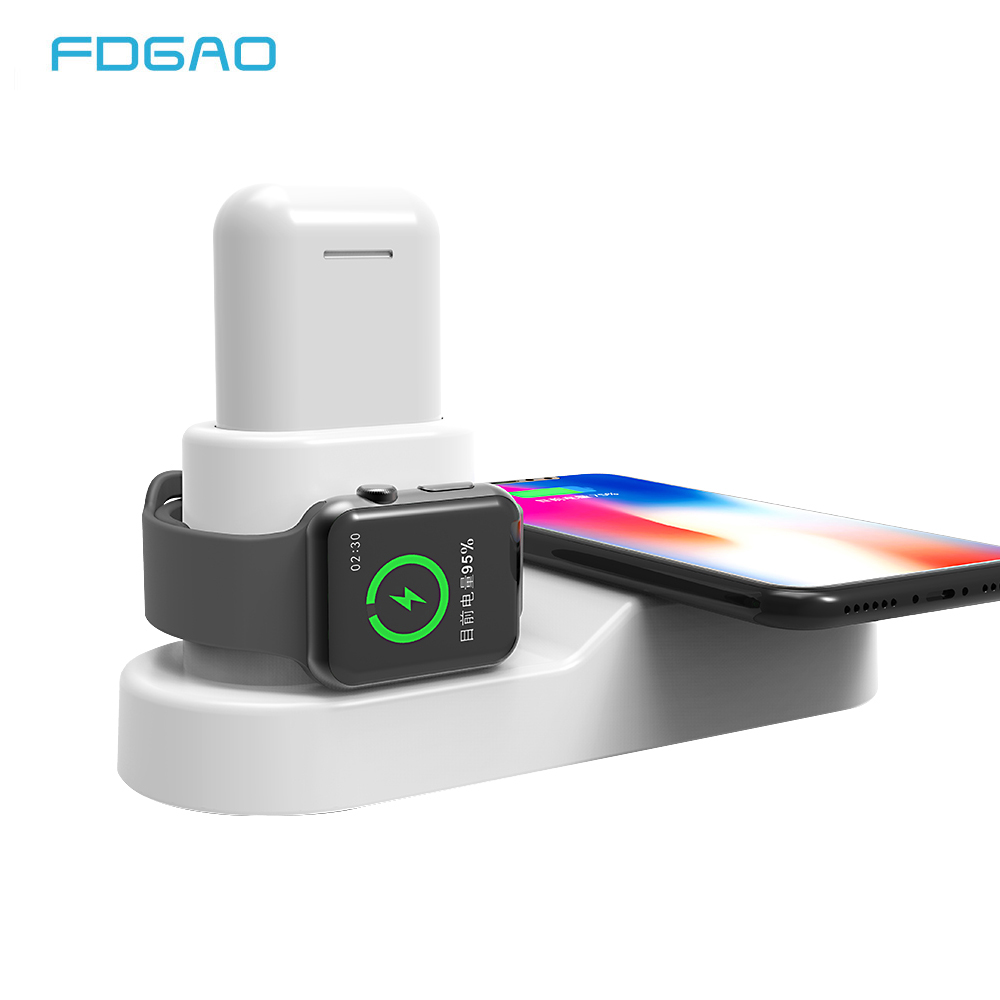 FDGAO Wireless Charger for iPhone 8 X XS Max Fast Qi Wireless Pad for Apple Watch 2 3 For Airpods USB Charger for Samsung S9 S8