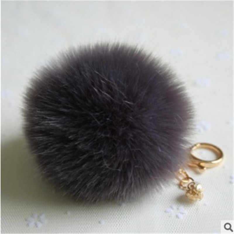 แฟชั่น Fluffy Pompon กระต่าย FUR Ball Pom Pom Keychain Pearl Key CHAIN ผู้หญิงกระเป๋า Charm Trinket GOLD Car KEY เครื่องประดับของขวัญ