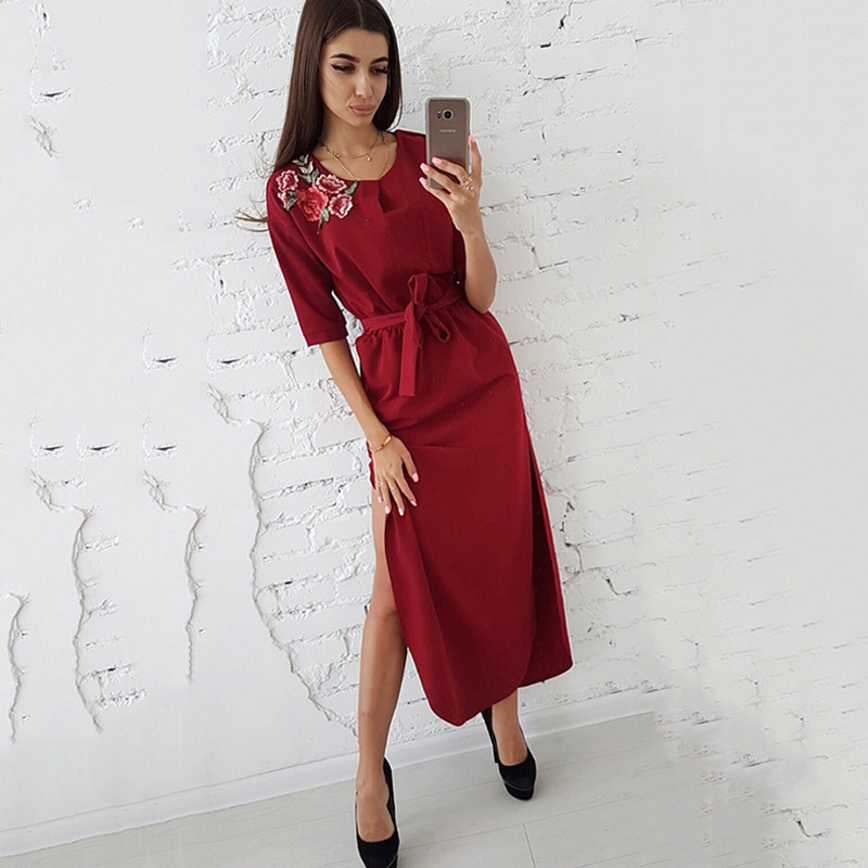 Hem Rose Appliques Dress Women Side Split Curved Half Sleeves Casual Long Dresses S Red 3