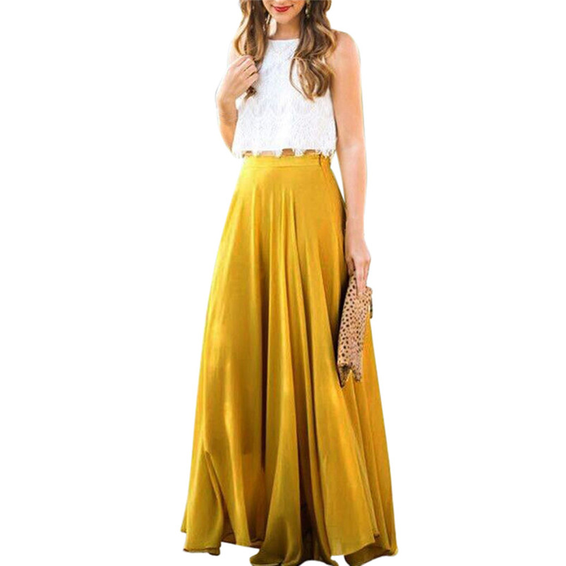 HOT sell Fashion 2018 Summer style skirts womens Chiffon Stretch High Waist Maxi Skater Flared Pleated Long Skirt Saia Y05#N (8)