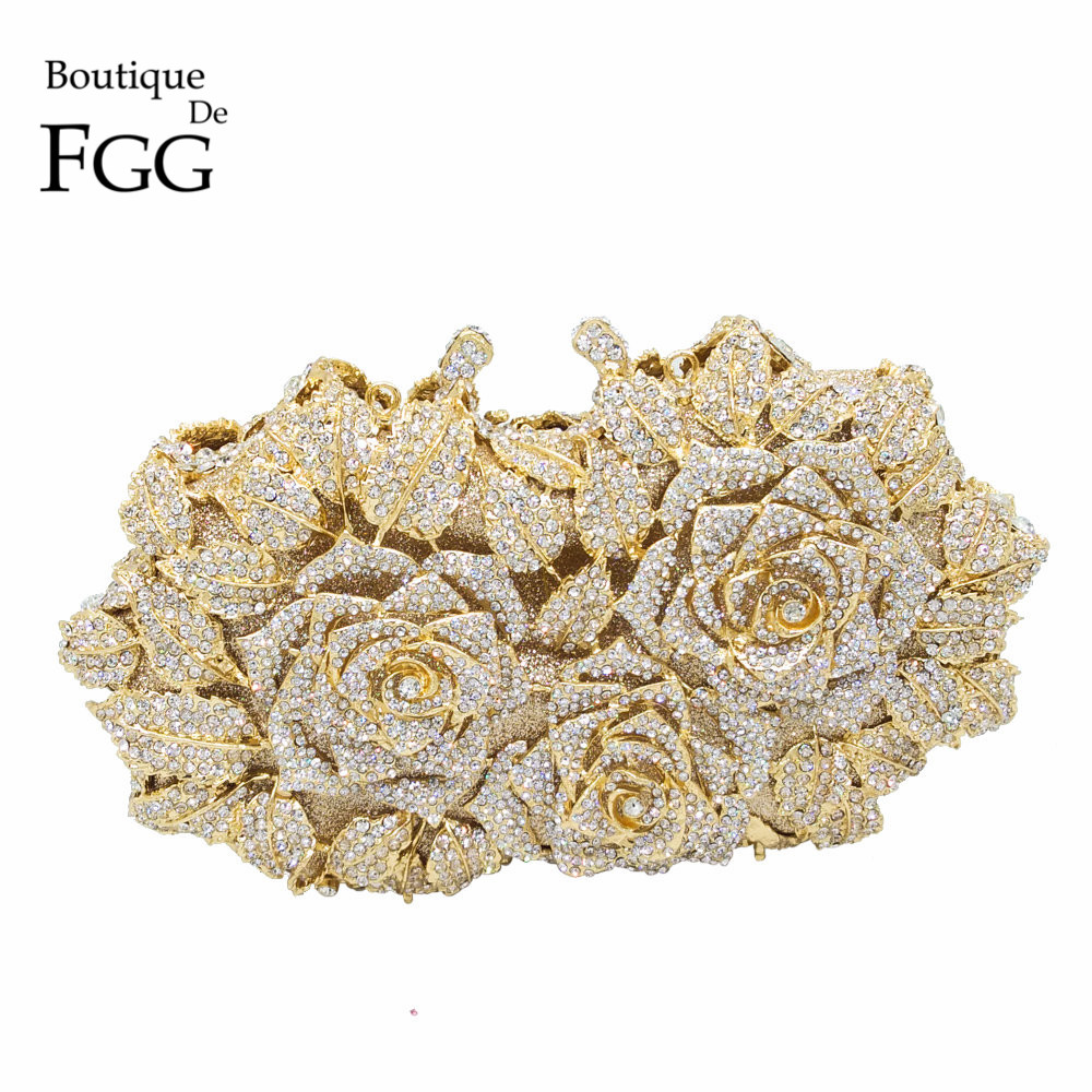 Dazzling Women Gold Rose Flower Hollow Out Crystal Evening Metal Clutches Small Minaudiere Handbag Purse Wedding Box Clutch Bag