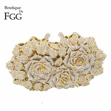 Gift Box Packed Women Gold Plating Rose Flower Hollow Out Crystal Evening Metal Clutches Small Minaudiere Handbag Wedding Clutch