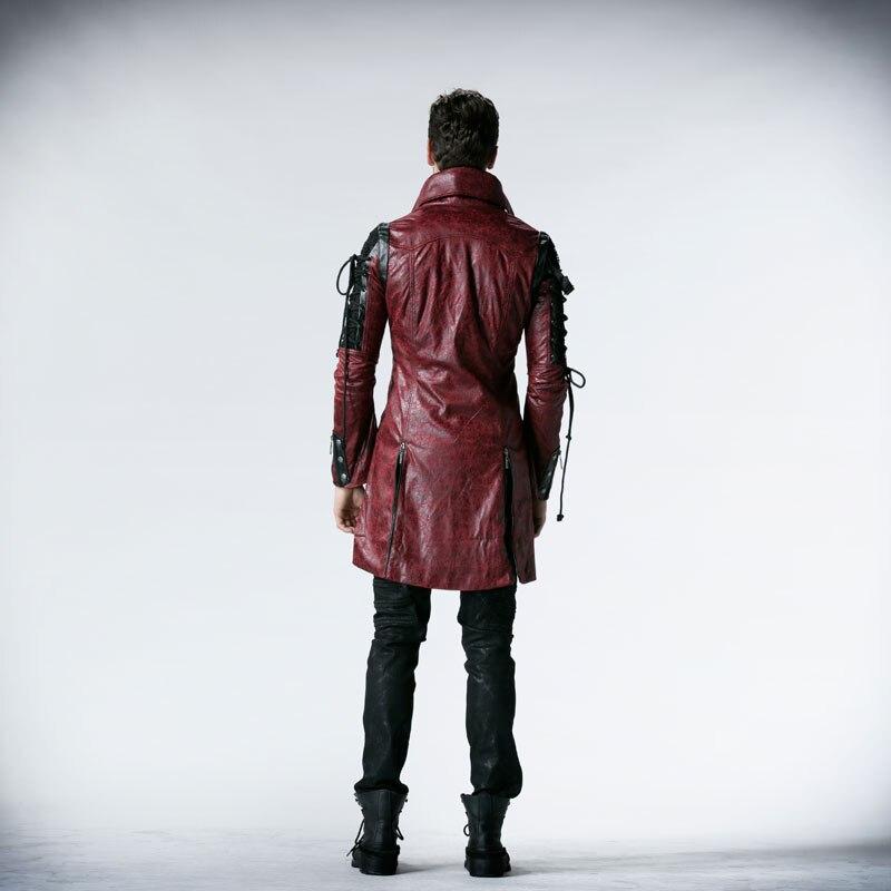 Gothic Retro Style Faux usnjeni dolgi plašči za moške Steampunk - Moška oblačila - Fotografija 6