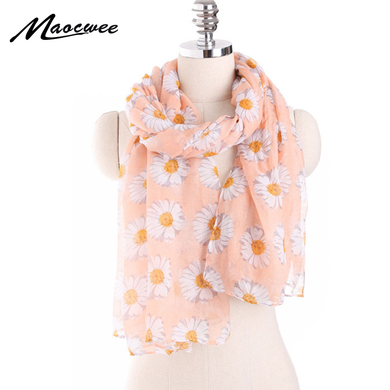 New Trendy Women's Long Print   Scarf     Wrap   Ladies Shawl Girl Large Pretty   Scarf   Beach Beauty Daisy Floral Pattern Ring   Scarves