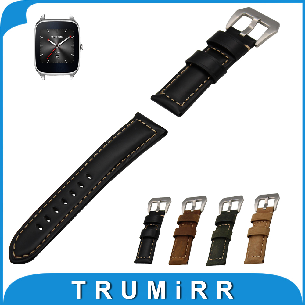 22mm Calf Genuine Leather Watch Band for Asus ZenWatch 1 2 Men WI500Q WI501Q Stainless Steel Clasp Watchband Strap Bracelet