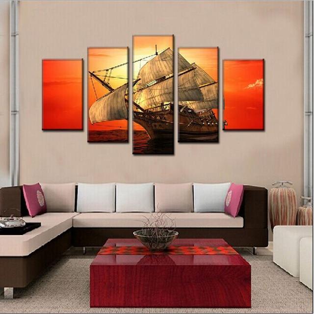 5 Paneles Lienzo Velero Pinturas Para La Pared De La Sala