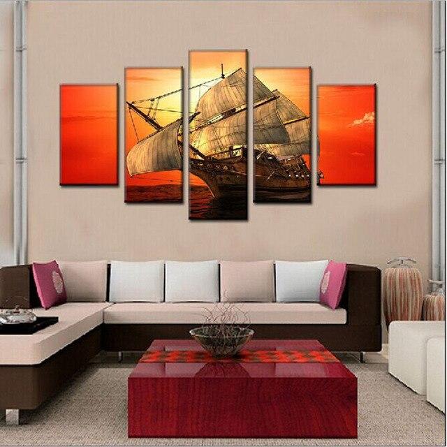 Gemälde Wohnzimmer, 5 panels segel leinwand gemälde für wohnzimmer wand moderne, Design ideen