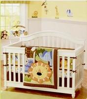 8 Pc Crib Infant Room Kids Baby Bedroom Set Nursery Bedding Brown orange Lion Cot bedding set for newborn baby boy