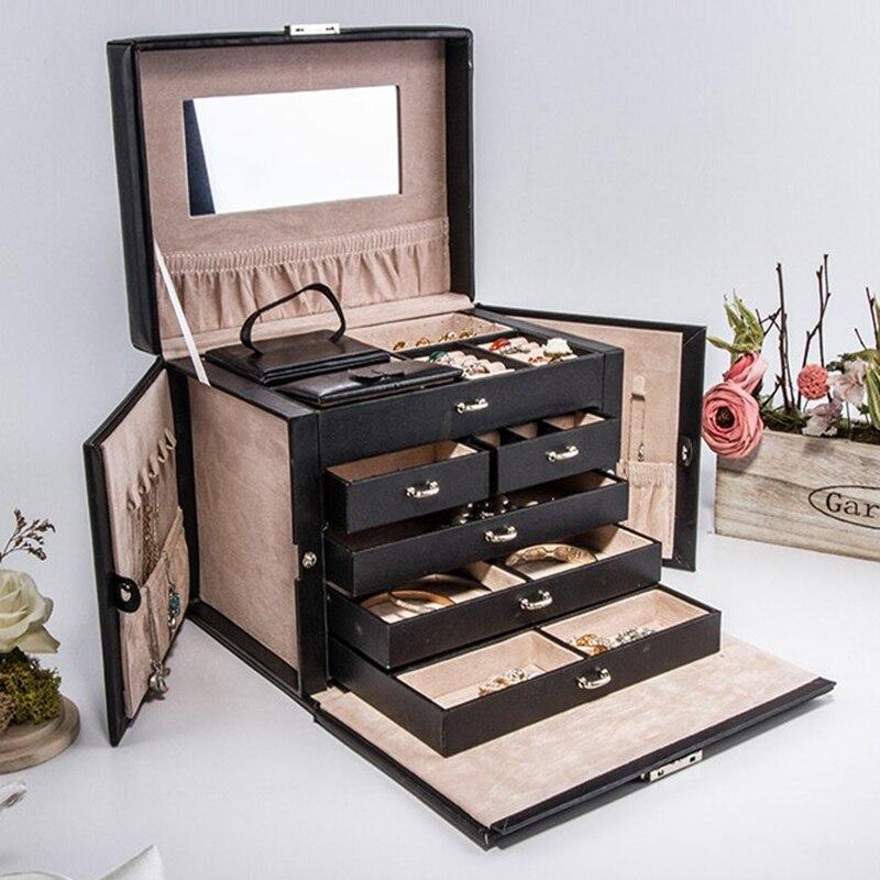 Бесплатная доставка роскошный большой 5 слоев кожаная шкатулка для ювелирных изделий Подставка для серьг и ювелирных изделий коробка сваде...