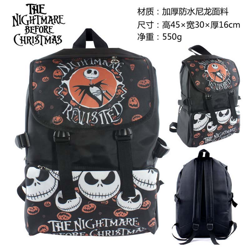 American Movie The Nightmare Before Christmas Waterproof Laptop Backpack Double Shoulder Bag School Bag