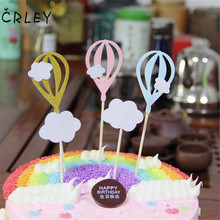 CRLEY 50pcs/lot cake toppers Pink Blue Clouds Hot Air Balloon Shape Toppers Children Kids Christmas Party Cake Decor Supplies