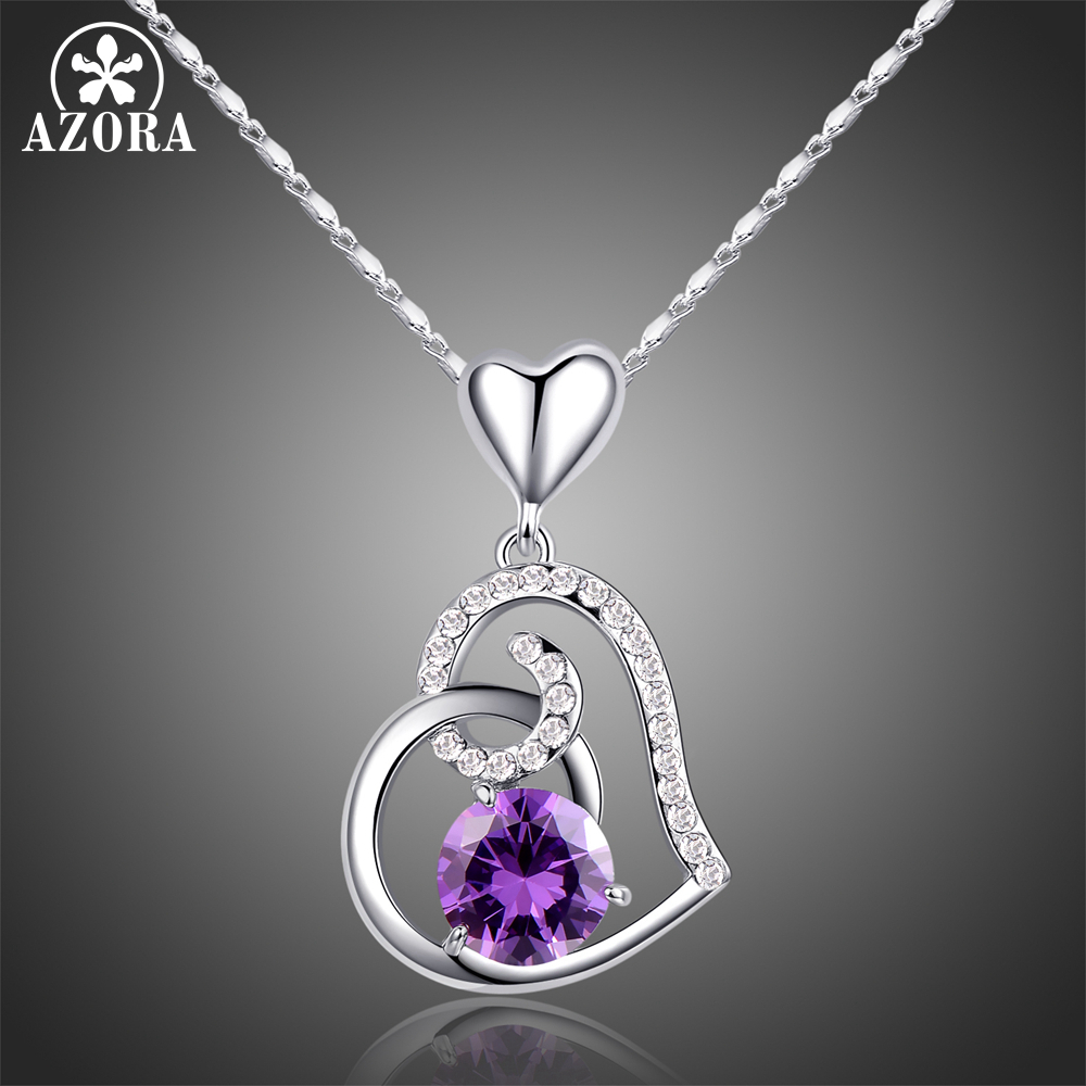 AZORA Purple Stellux Austrian Crystal Heart Pendant Necklace for Valentines Day Gift of Love TN0182AZORA Purple Stellux Austrian Crystal Heart Pendant Necklace for Valentines Day Gift of Love TN0182