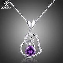 325746b57462 AZORA púrpura Stellux cristal austriaco corazón colgante collar para regalo  de Día de San Valentín de amor TN0182