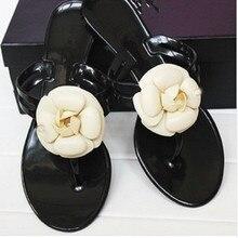 Kjstyrka Brand Design camellia flower Women jelly shoes Slippers Summer Flip Flops Beach shoes Pool Sandals Flats Ladies Slides