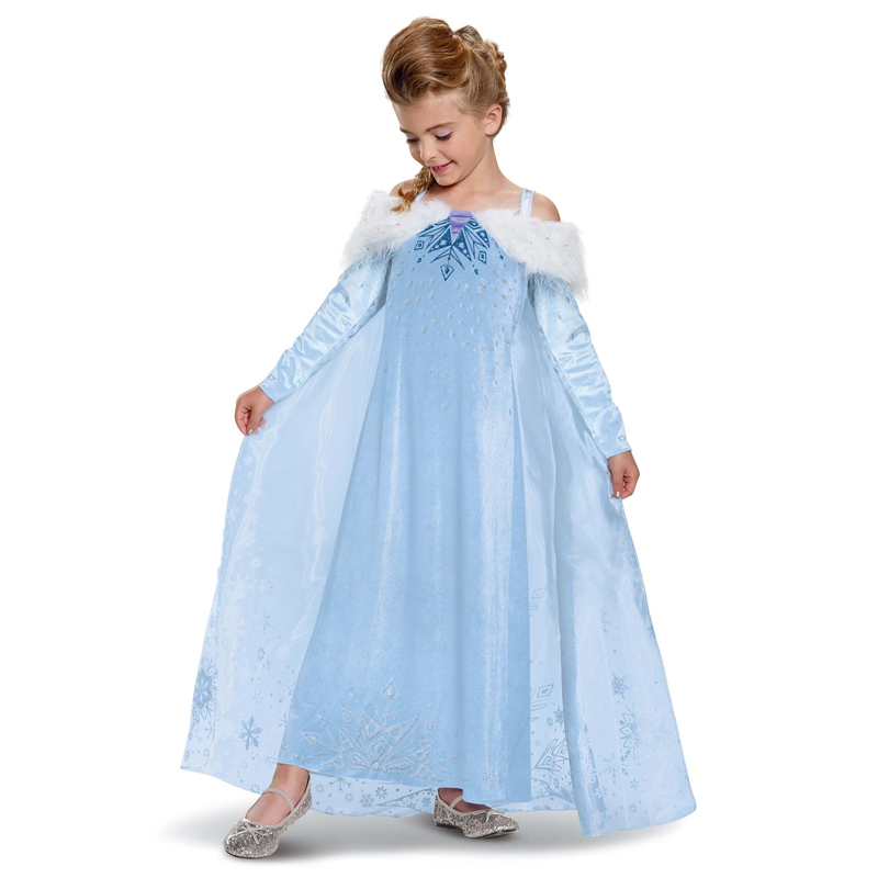 Nouveau Elite Enfant Glace Reine Style Elsa Aventure Deluxe Filles Enfants Halloween Costume