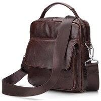 Vintage Brown Genuine Leather Messenger bags Men Briefcase Tote Brand Cow Leather Shoulder bag Men's Handbag Shoulder bags 2018