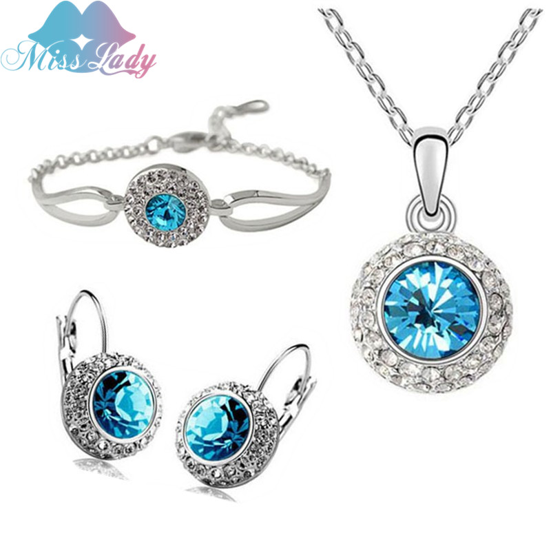 Miss Lady Hot Selling Rose Gold color Rhinestone Vintage Moon River Crystal Jewelry Sets Fashion Jewelry for women 4335