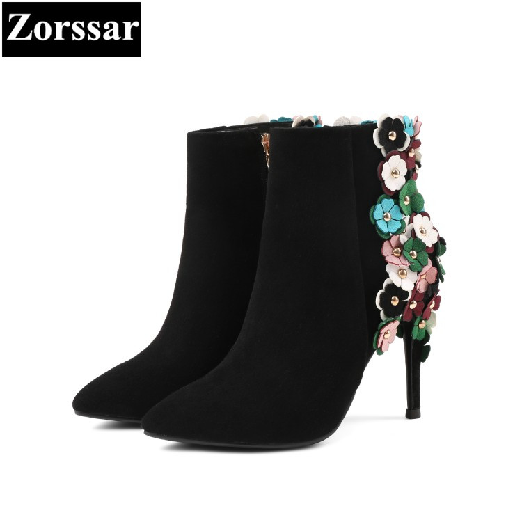 {Zorssar} 2018 Fashion Flowers Ladies shoes Genuine Leather women High heels ankle boots Cow Suede Sexy thin heel Short boots de la chance autumn winter genuine leather suede ankle boots wipe color fashion women s boots new short boots ladies shoes