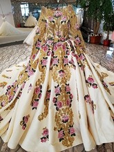 2018 Long Sleeve Muslim Wedding Dress Golden Embroidery Rose Flower Highgrade Handmade Lace New Bride Ball Gown Marriage Vintage(China)