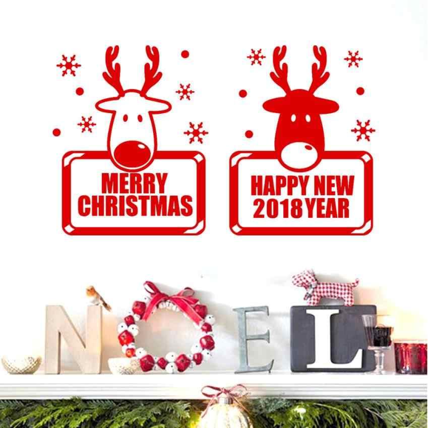 Dekorasi Rumah 2018 Tahun Baru Selamat Natal Dinding Stiker Jendela Toko Stiker Dekorasi Rumah Stiker Dinding Deco Cermin AU7