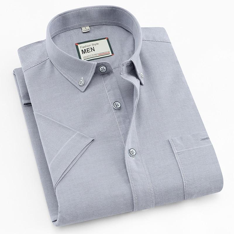 2020 New Arrival Summer Men Shirt 100% Cotton Short Sleeved Plaid Striped Solid Man Shirts Fashion Formal Business Shirt DA016