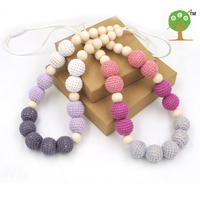 2PCS SALE safe STATEMENT necklace SHADE Grey crochet beads wooden Crochet  Nursing teether baby toy EN32