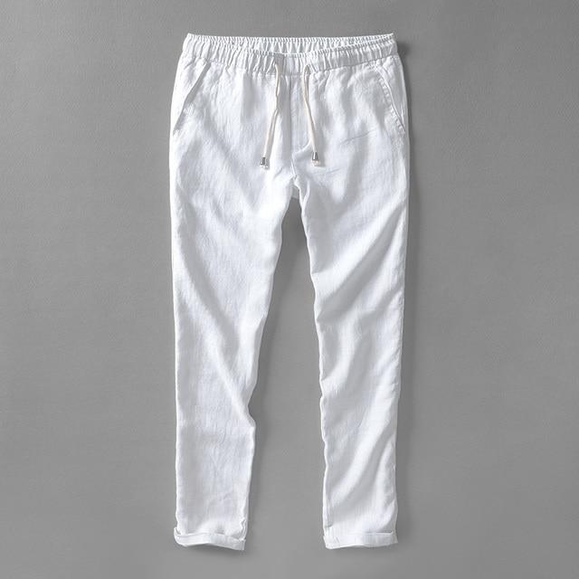 zomer herfst witte broek mannen linnen merk broek mannen vlas lange
