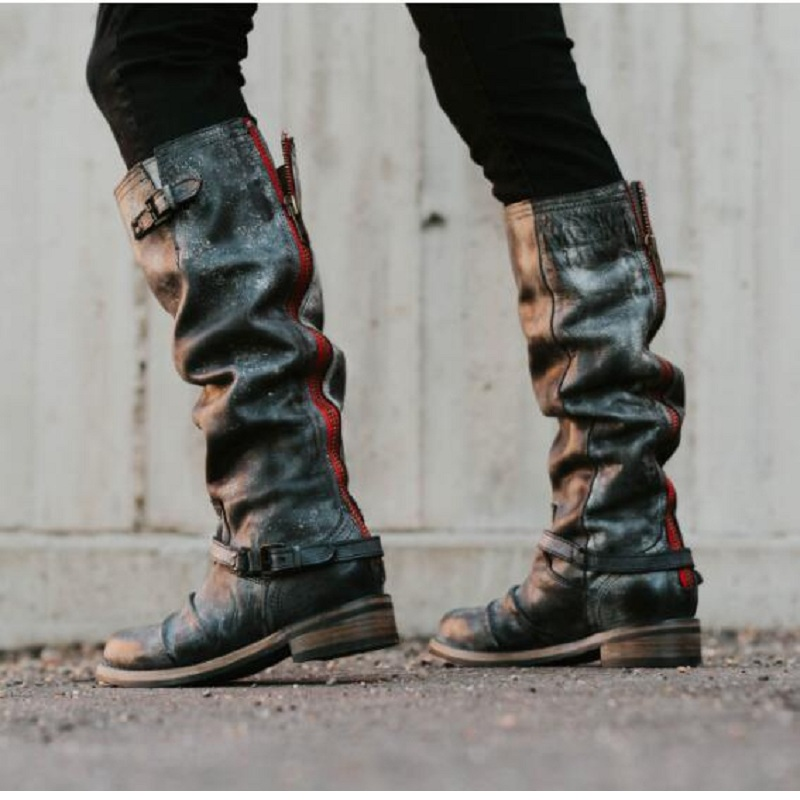 100% QualitäT Botas Mujer Stiefel Frauen Winter Faux Leder Vintage Reiten Stiefel Mitte Wade Niedrige Heels Schnalle Plattform Damen Schuhe Plus Größe Hohe QualitäT Und Geringer Aufwand