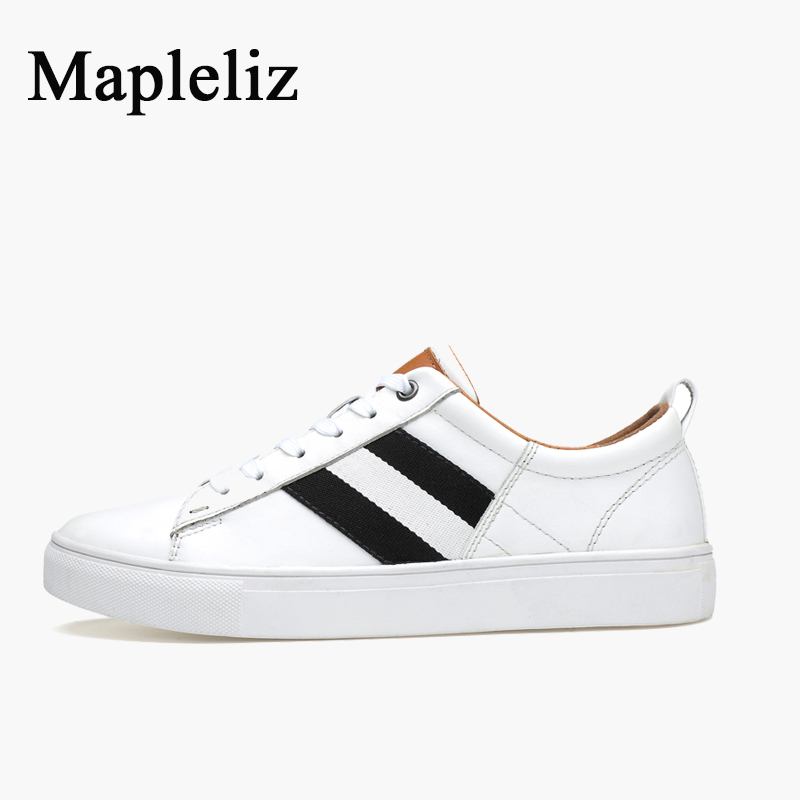 Mapleliz Brand Men White Shoes Spring New Genuine Cow Leather Male Flats High Quality Puls Size Leisure Men Casual Shoes relikey brand men casual handmade shoes cow suede male oxfords spring high quality genuine leather flats classics dress shoes