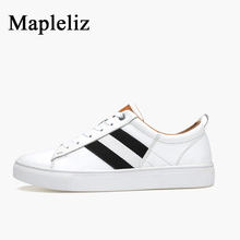 Mapleliz Brand Men White Shoes Spring New Genuine Cow Leather Male Flats High Quality Puls Size Leisure Men Casual Shoes