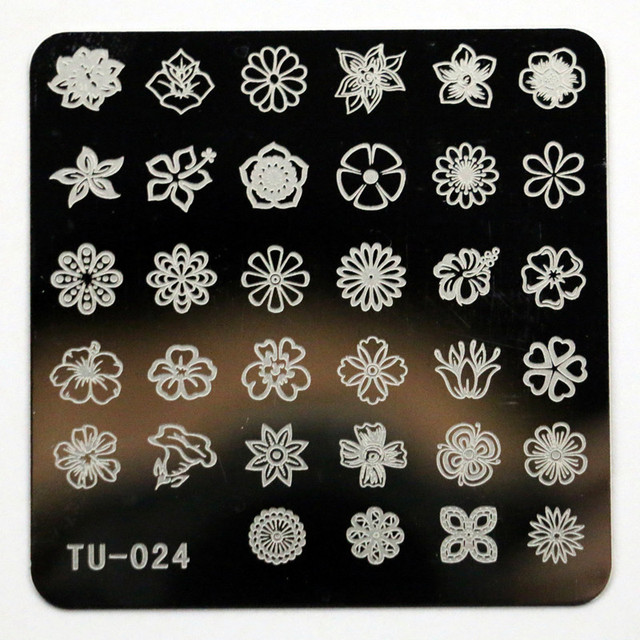 New Fashion Flowers Nail Stamping Plates Polish Art Decorations Templates Stencils Manicure Tools Tu024