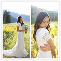 Romactic Lace Wedding Dresses 2016 V-Neck Short Sleeve Zipper Sweep Train Lace Applique White Sheath Bridal Dresses Custom Made