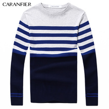 CARANFIER 2017 A/W Fashion Men Knitting Sweater Male Striped Cotton Casual Sweater O-Neck Slim Fit  Pullover Men Leisure Style
