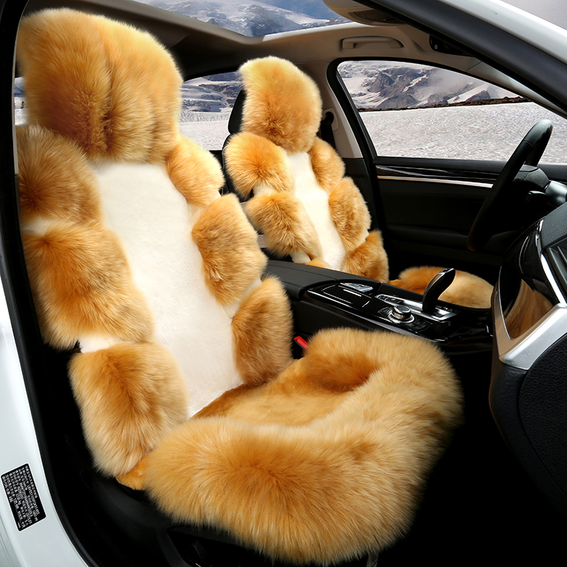 Aliexpress Buy Full Sheep Fur Cover Car Seat 5 Seats Set Low Profile Luxury New Arrival Winter Keep Warm Cushion From