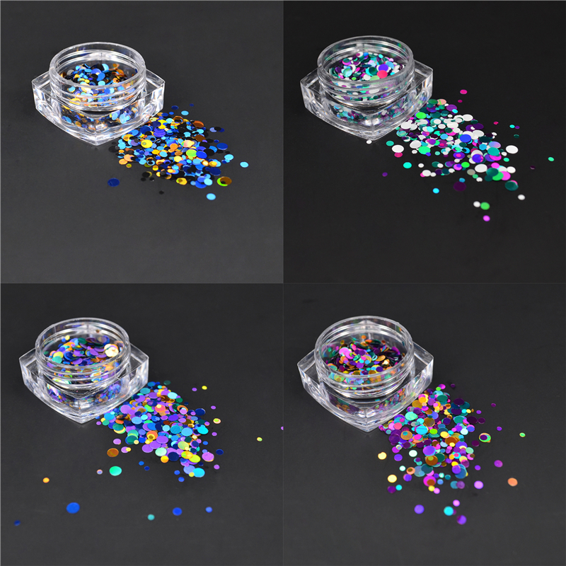 LCJ New 1mm 3mm Mini Round Thin Nail Art Glitter Decoration Colorful DIY Glitter Paillette Design Nail Art Sequin Tips-in Nail Glitter from Beauty & Health