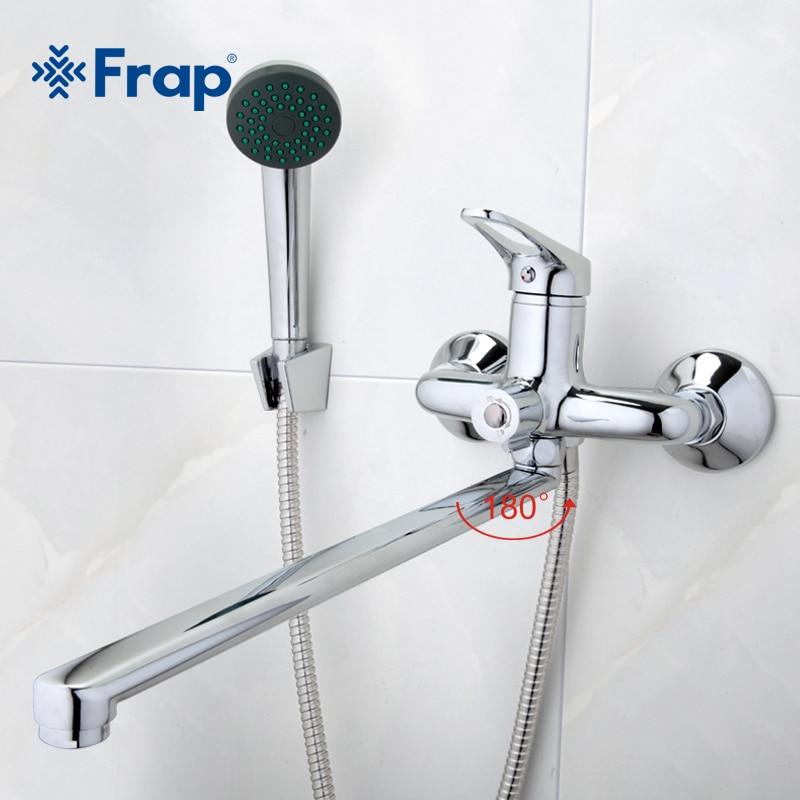Frap Bagno Miscelatore 40 cm in acciaio inox lungo naso presa doccia in ottone rubinetto F2213