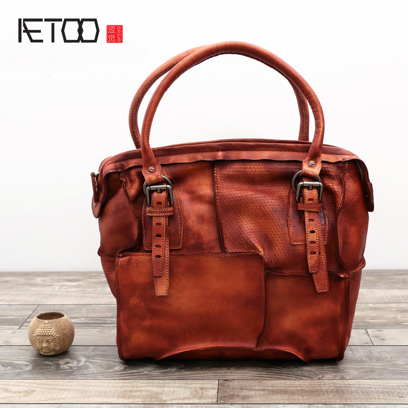 AETOO The new retro hand-wiping the first layer of leather Messenger bag leather retro shoulder bag knife cut leather handbags the new retro hand brush color bag head layer leather casual bag messenger bags wholesale