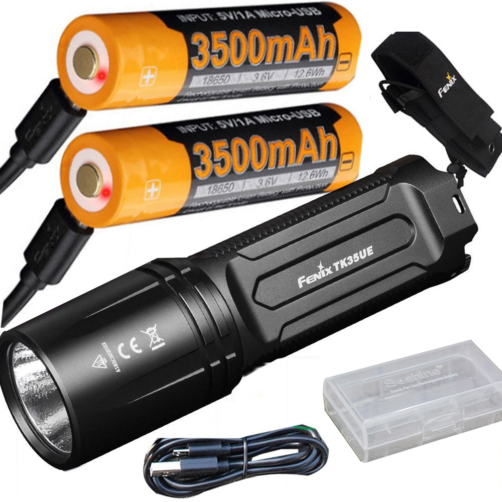 FENIX TK35 UE 2018 3200 Lumen LED USB rechargeable Tactical Flashlight + 2 X ARB-L18-3500U battery,holster, USB cable