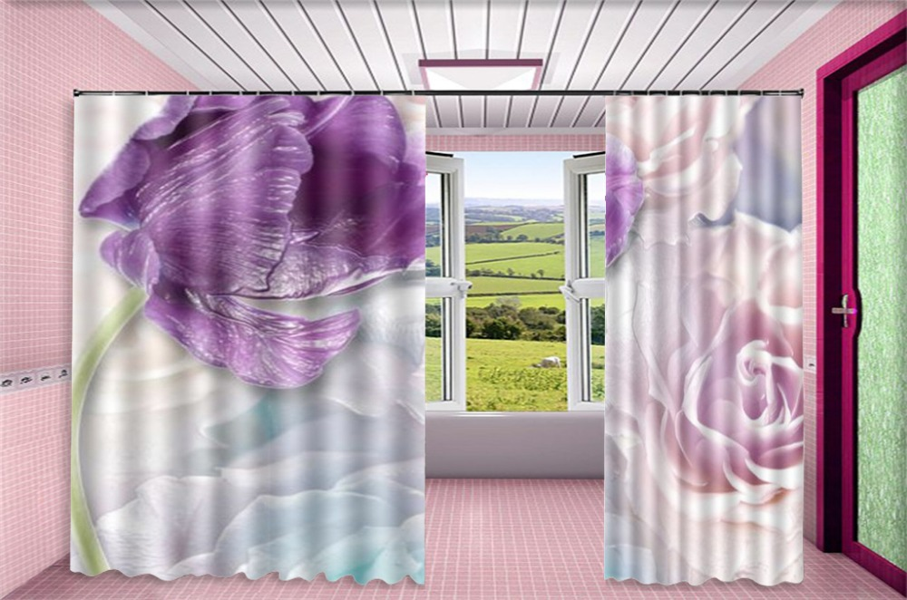 Rideau Promotion fleurs violettes Rose Rose 3d fleur rideaux impression numérique décoration intérieure pratique occultant Curtai - 3