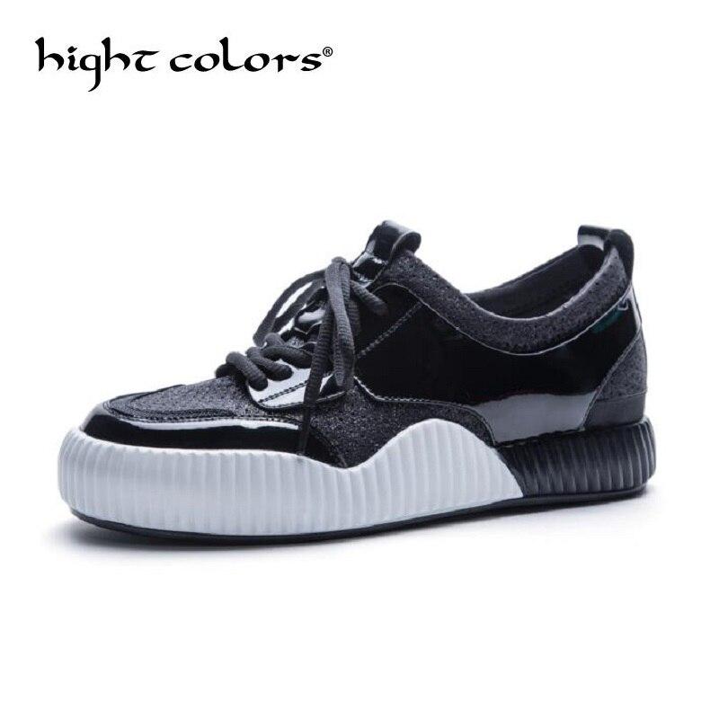 2018 модные толстой подошве женская повседневная обувь Материал шить Grils на плоской платформе Лоферы Женская обувь tenis feminino zapatos mujer