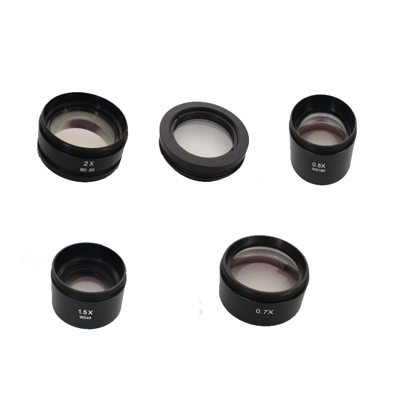 0 5X 1X 0 7X 1 5X 2 0X Barlow Auxiliary Objective Lens for Stereo Microscope trinocular binocular with high distance working in Microscope Parts Accessories from Tools