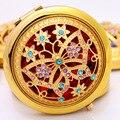 Шикарный ретро старинные золотые металла зеркальце компактный косметическое старинные зеркала золотой кристалл портативный макияж тщеславие красота инструменты