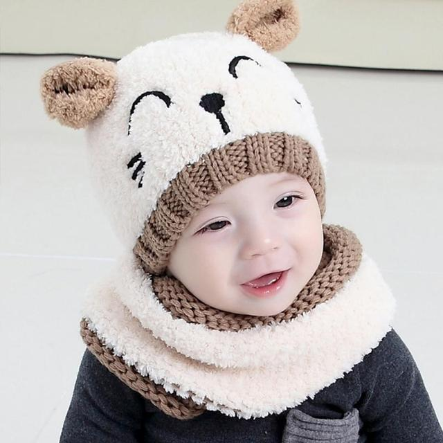 a5dd43aba1f01 2019 New Cute Baby Hats Autumn Winter 2 Pcs Hat and Scarf Set Cap  Embroidery Cat Earmuffs Warm Hat for Children Neck 1