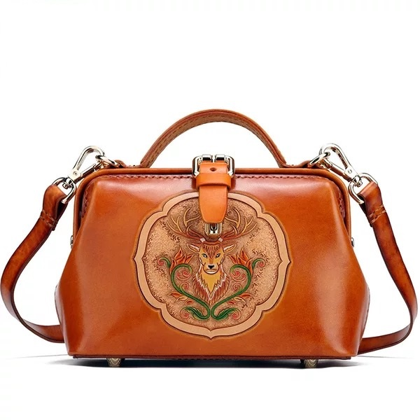 66e06d9d2db Detail Feedback Questions about Vintage Genuine Leather Engraved Deer  Designer Women's Small Clutch Purse Doctor Bag Handmade Ladies Tanned Color  Shoulder ...