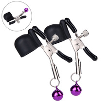 1 Pair Sex Game Product Vibrator Nipple Clamps Vibrating Clip Flirting Breast Stimulating Toys with Bell