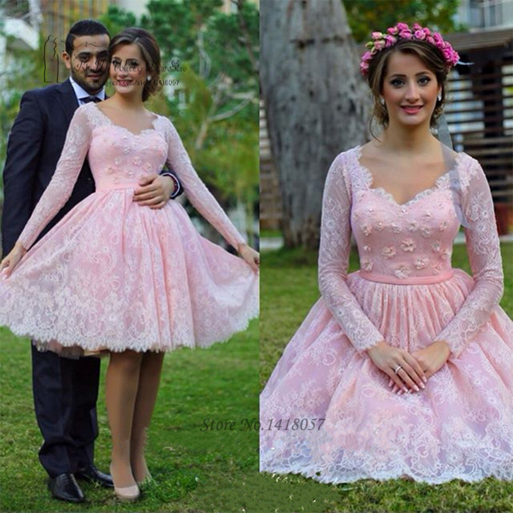 Vintage Wedding Dresses Michigan: 2017 Vintage Blush Pink Wedding Dress Long Sleeve Lace